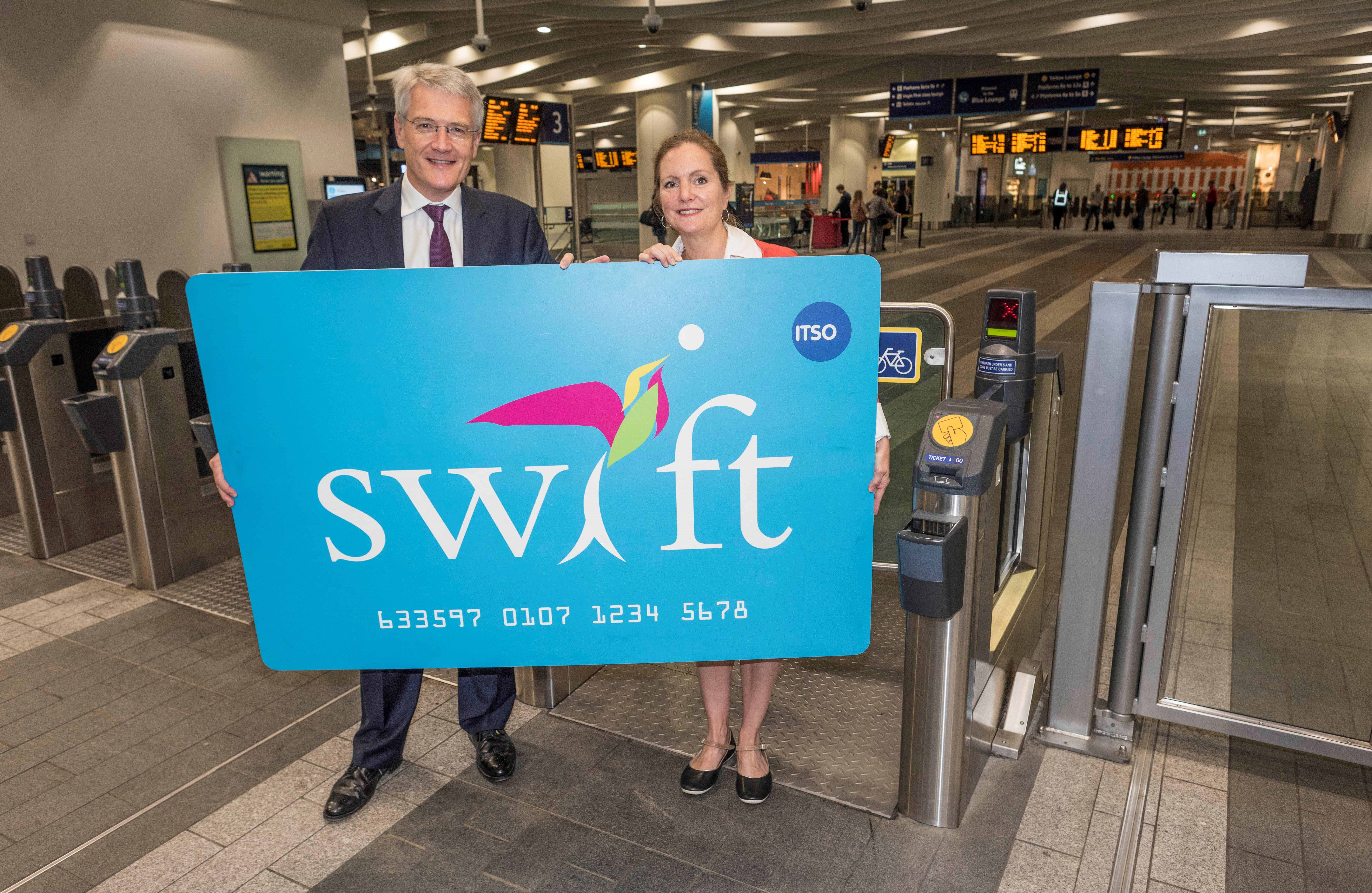 Transport minister Andrew Jones launches Swift card on West Midlands rail network