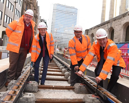 First tram tracks laid for Westside Metro extension in Birmingham