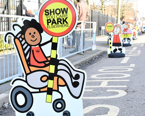 Pupils take delivery of parking buddies to improve safety outside their school