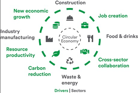 Diagram of sectors and drivers involved in a circular economy