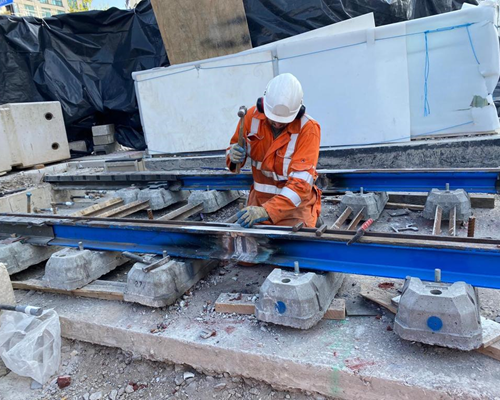 Midland Metro Alliance celebrates milestone track weld in Centenary Square