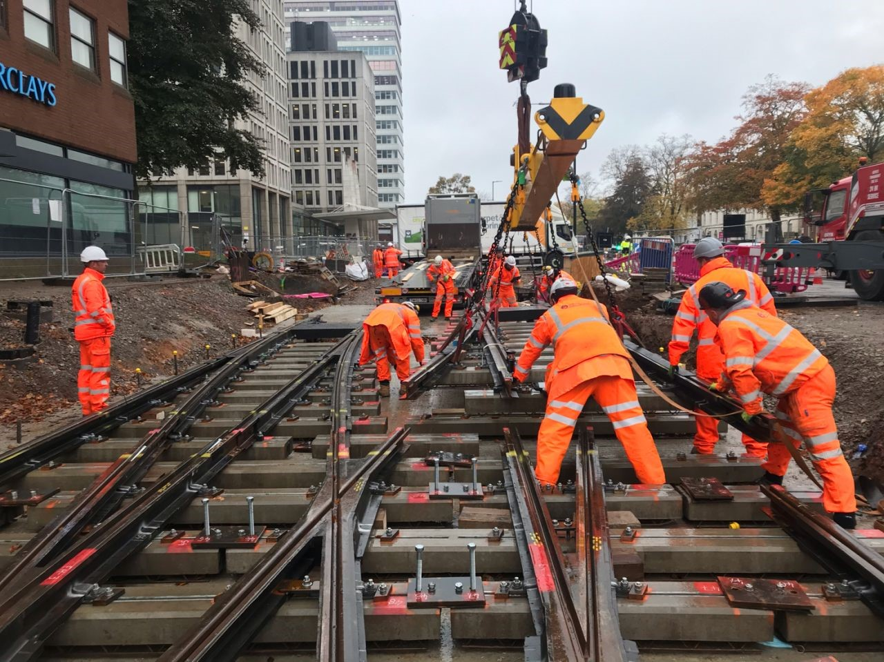 Metro extension on the right track as a key piece of rail is installed on Hagley Road