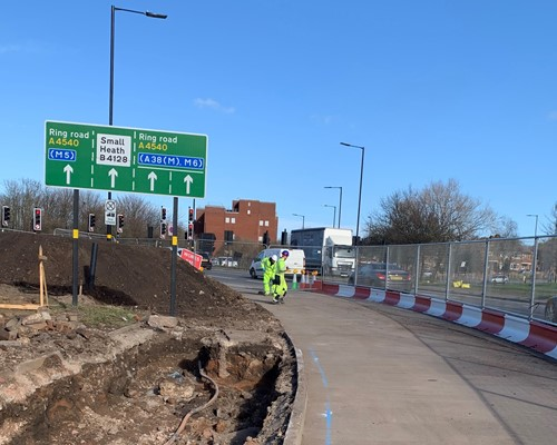 Work begins on new Sprint bus priority measures on the A45 in Birmingham
